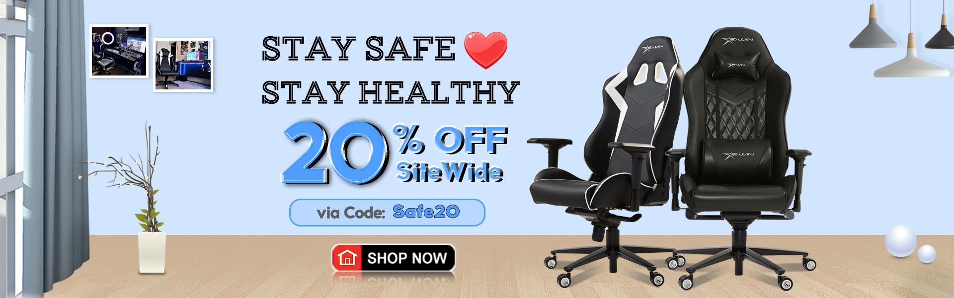 Stay Home Stay Salfe - EwinRacing Gaming Chairs