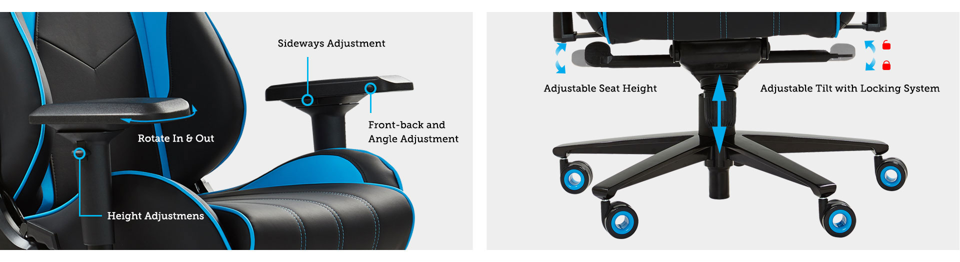 Armrests & The Tray of E-WIN Gaming Chairs