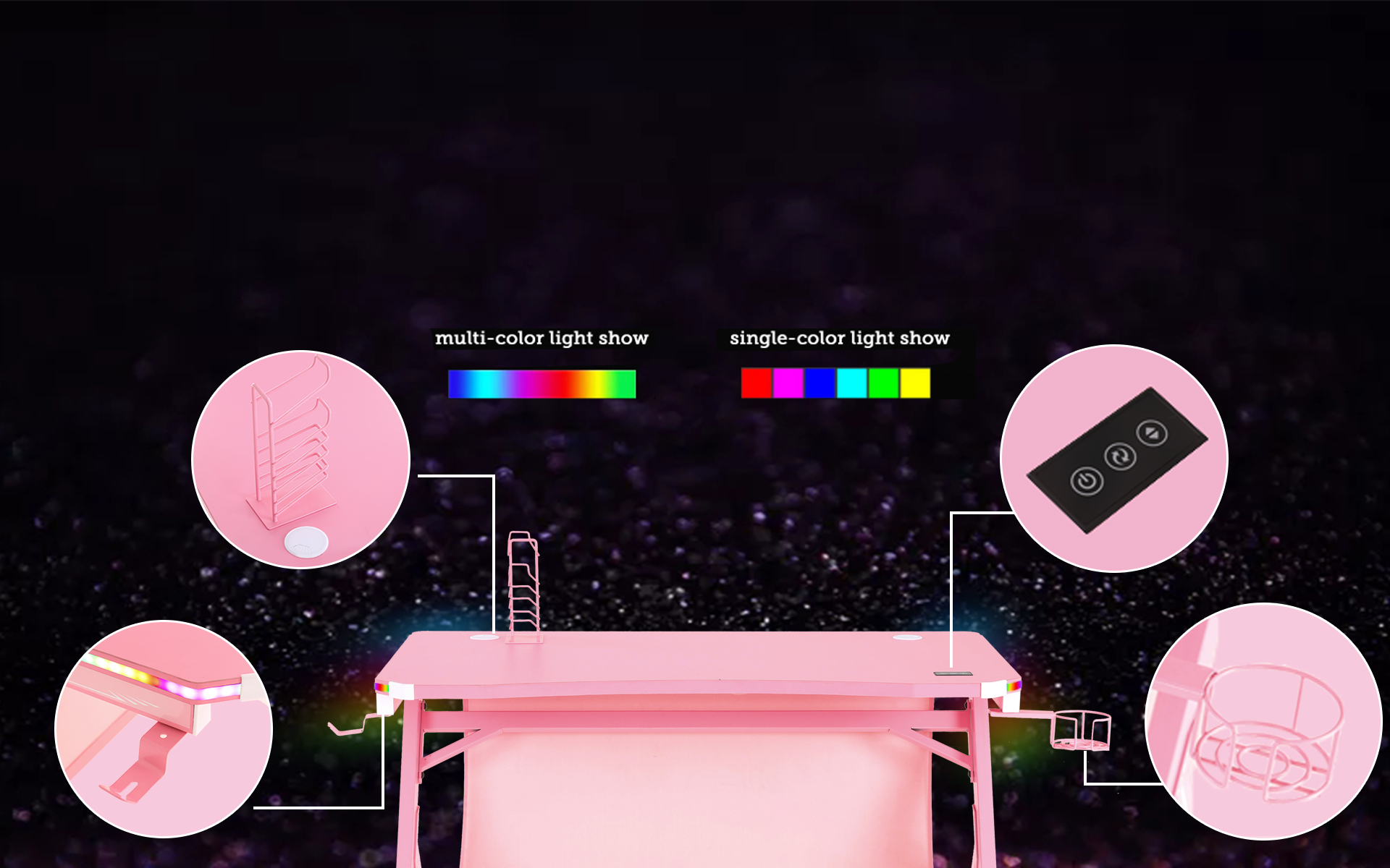E-WIN Pink RGB Gaming Desk