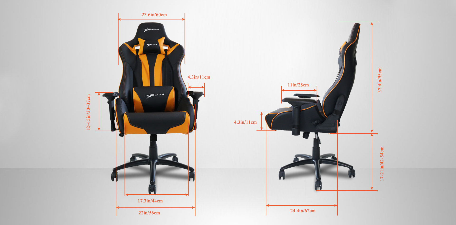 EwinRacing Flash XL Gaming Chairs Dimensions